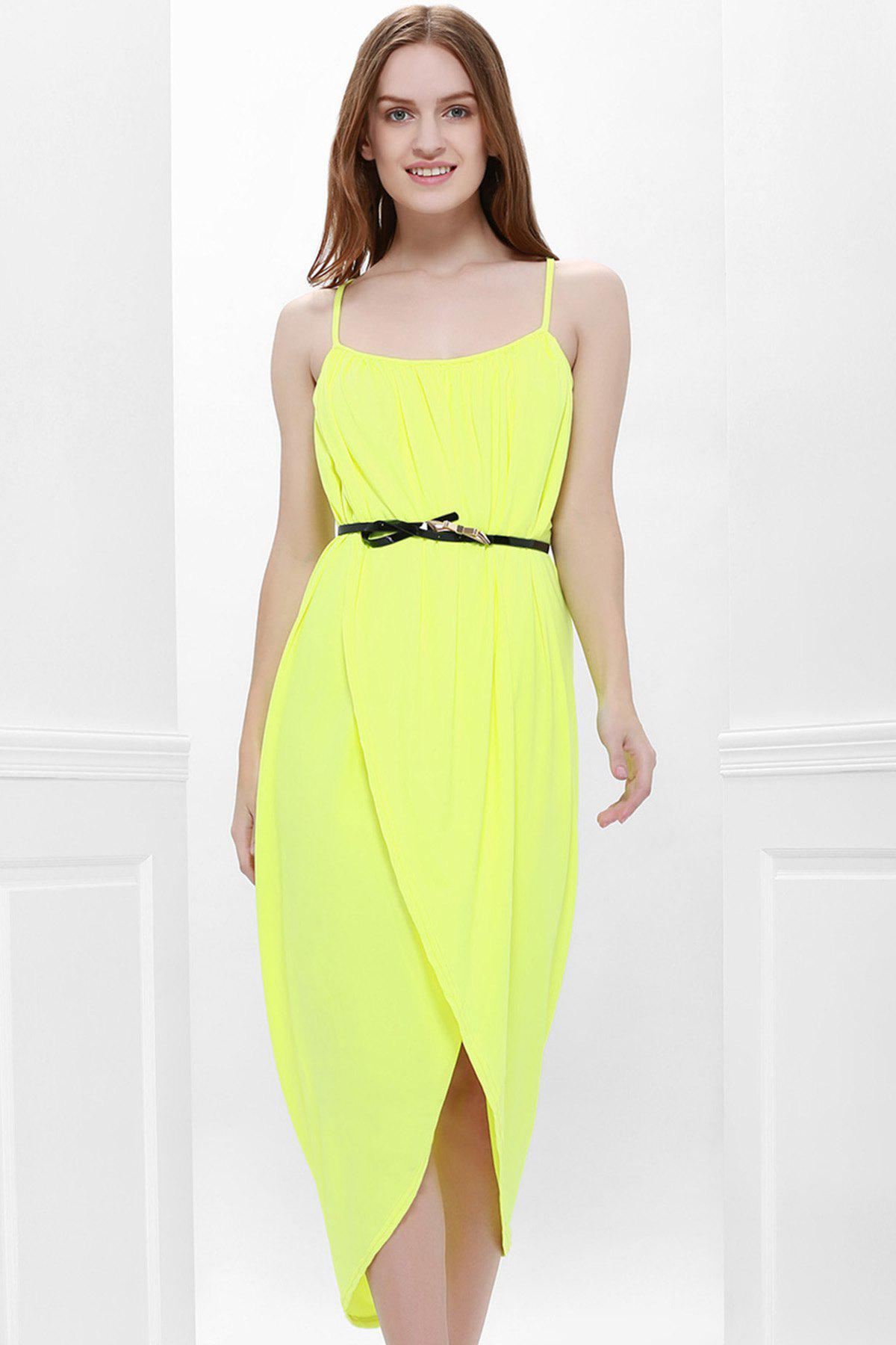 Sexy Spaghetti Strap Sleeveless Furcal Solid Color Women's Dress - YELLOW M
