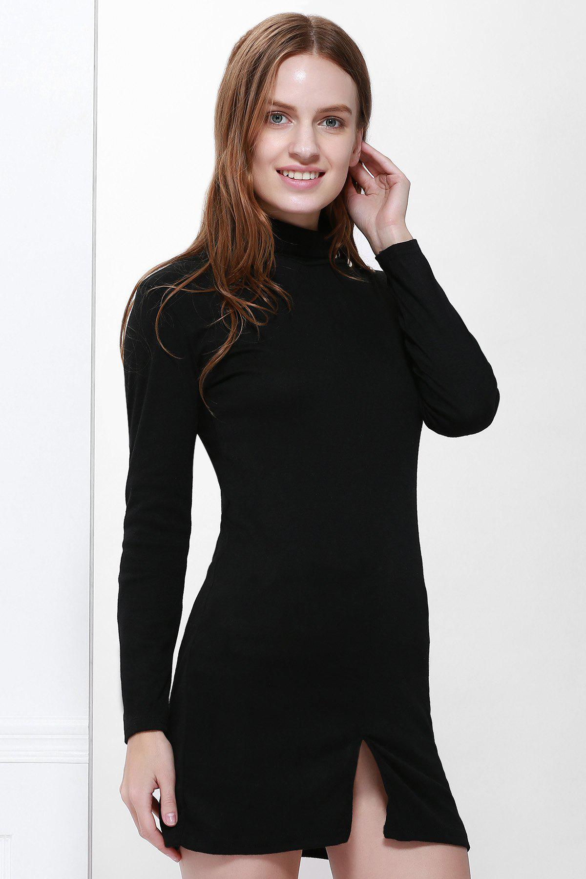 Slit Front Design Solid Color Packet Buttock Long Sleeve Turtleneck Pullover Dress - BLACK L