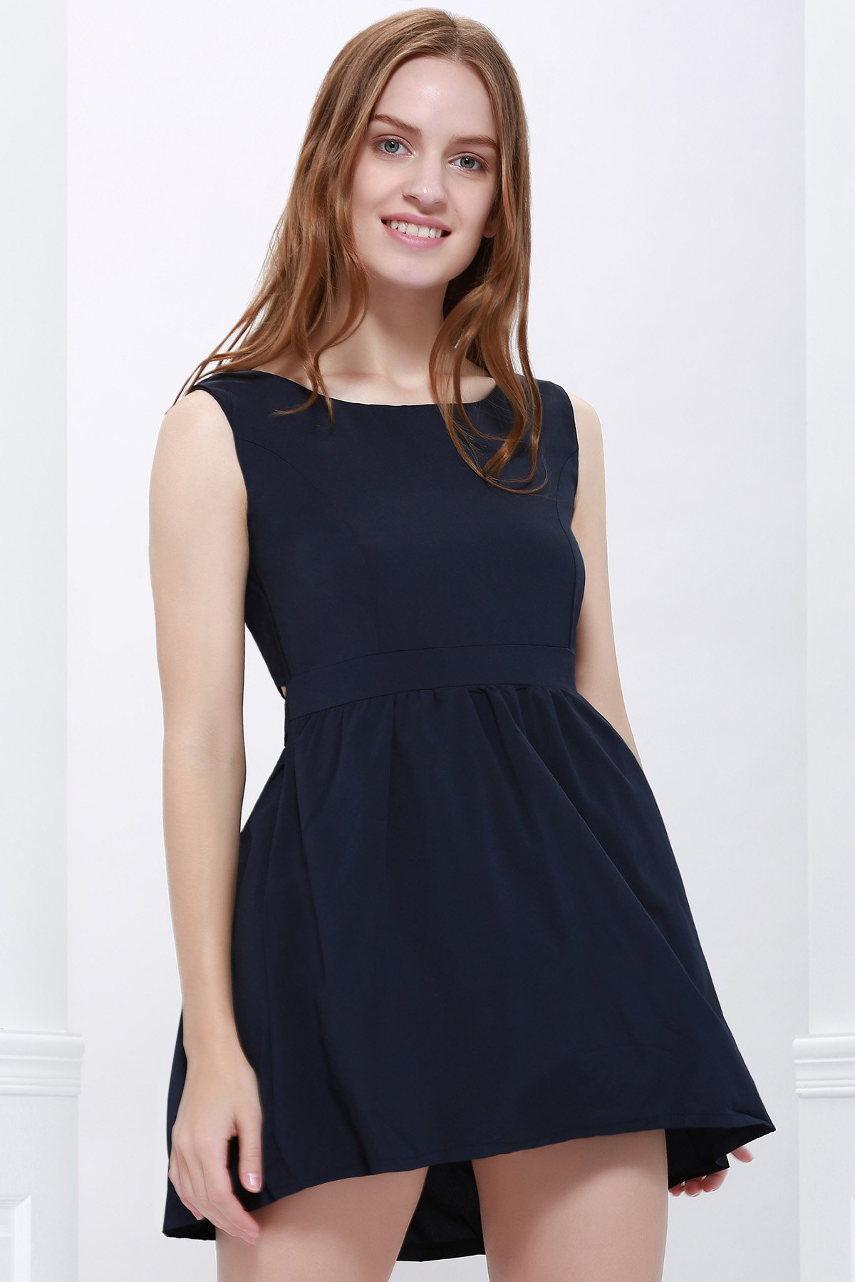 Women's Single Breasted Casual Scoop Neck Backless Self-Tie Sundress