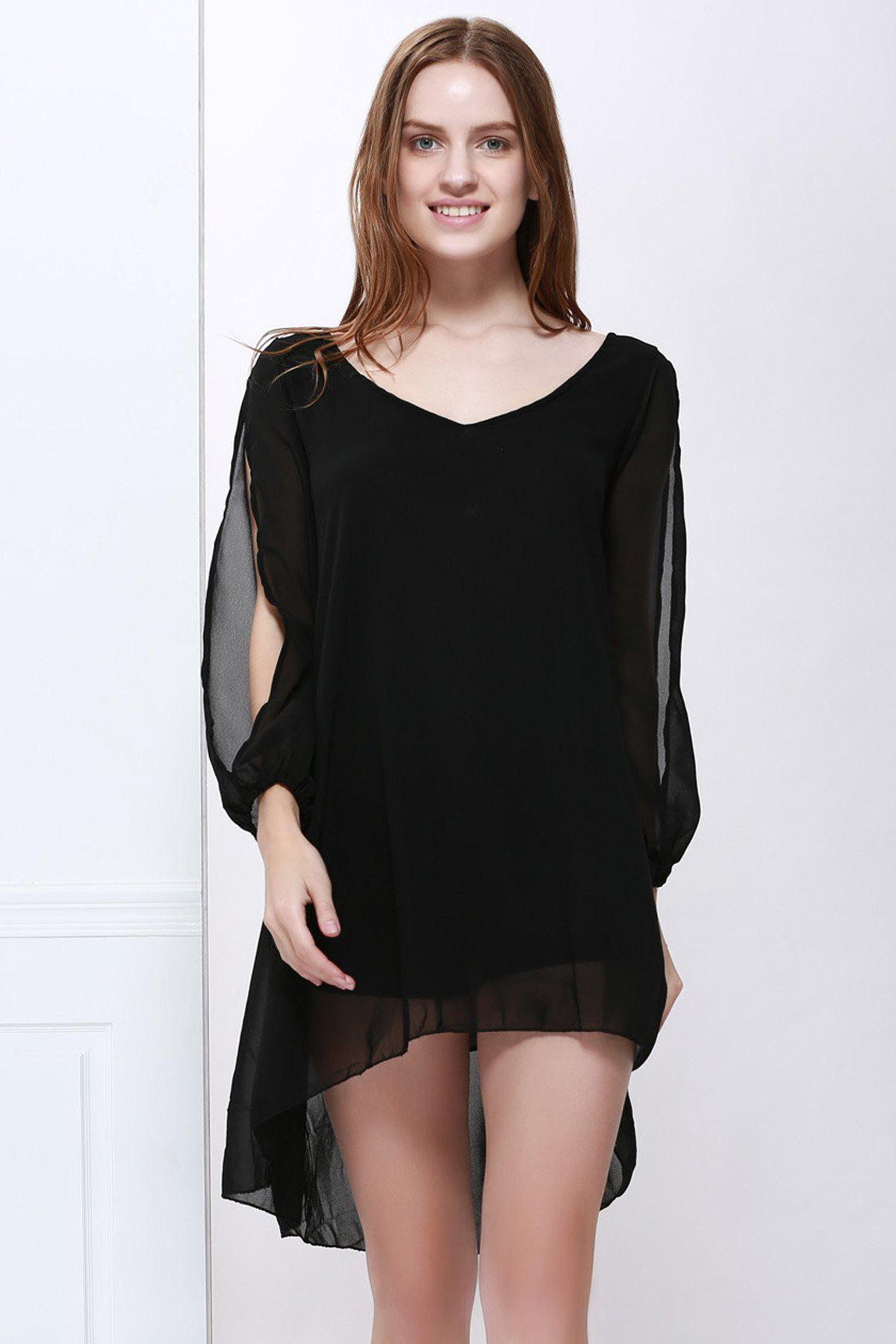 V Neck Slit Sleeve High Low Chiffon Dress - BLACK XL