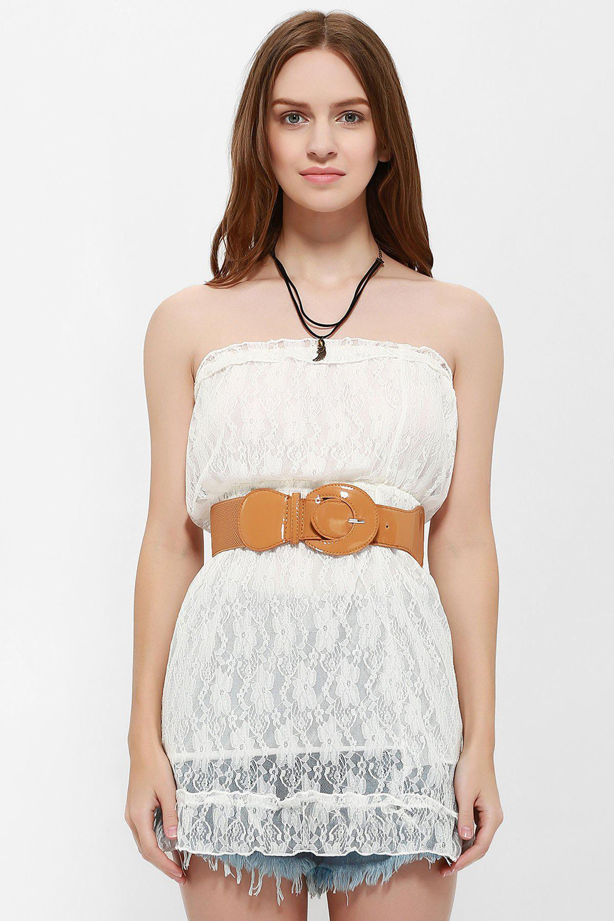 Graceful Style Strapless Mini Lace Dress For Women - ONE SIZE WHITE