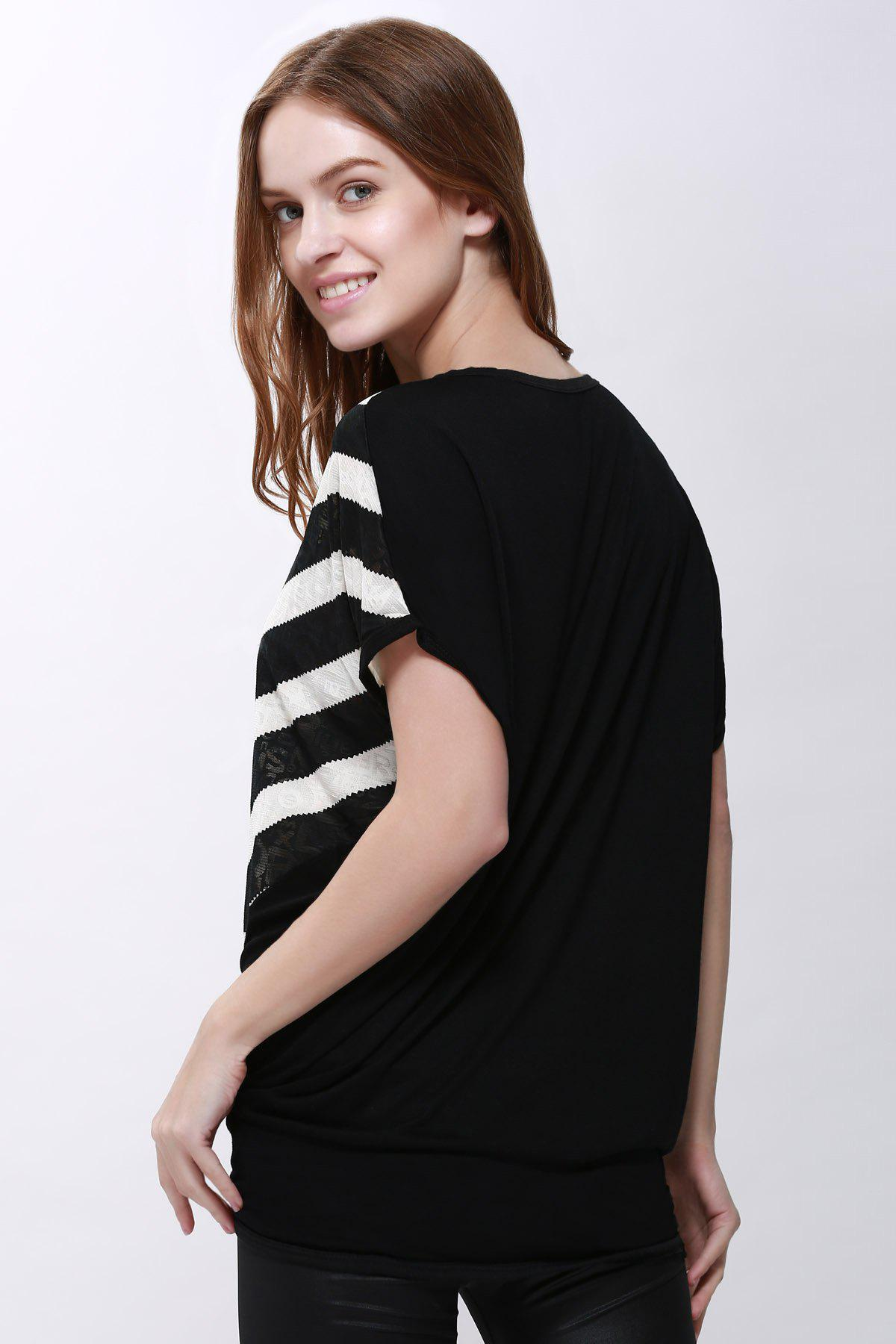 Women's High-Low Hem Stripe Print Batwing Sleeve Plus Size Blouse - BLACK XL