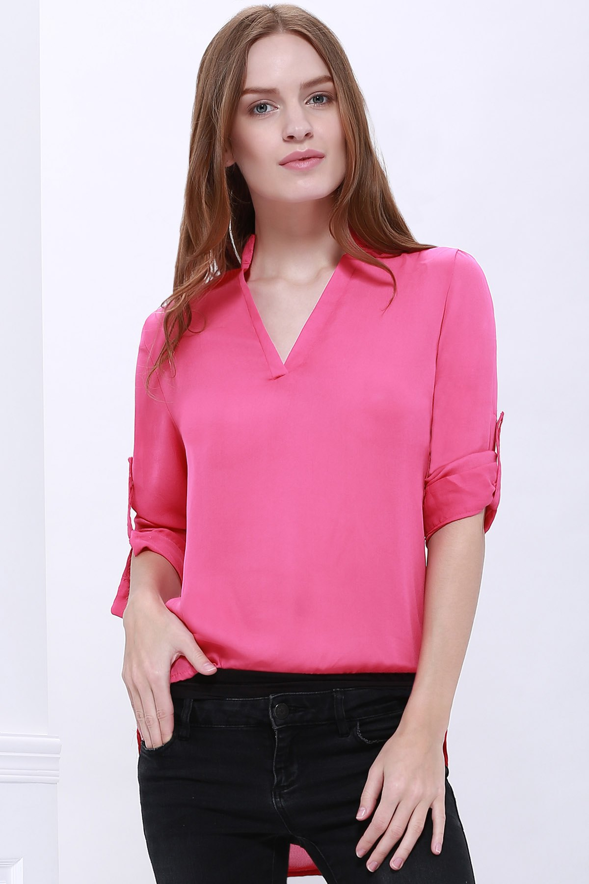 Loose Solid Color 1/2 Sleeve Stand-Up Collar Pullover Chiffon Blouse - ROSE MADDER XL
