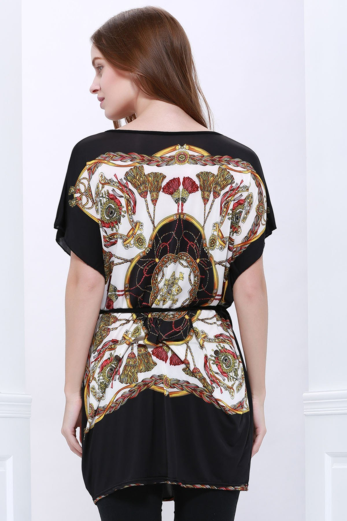 Special Print Scoop Neck Simple Style Short Sleeves Chiffon Women's Blouse - AS THE PICTURE L