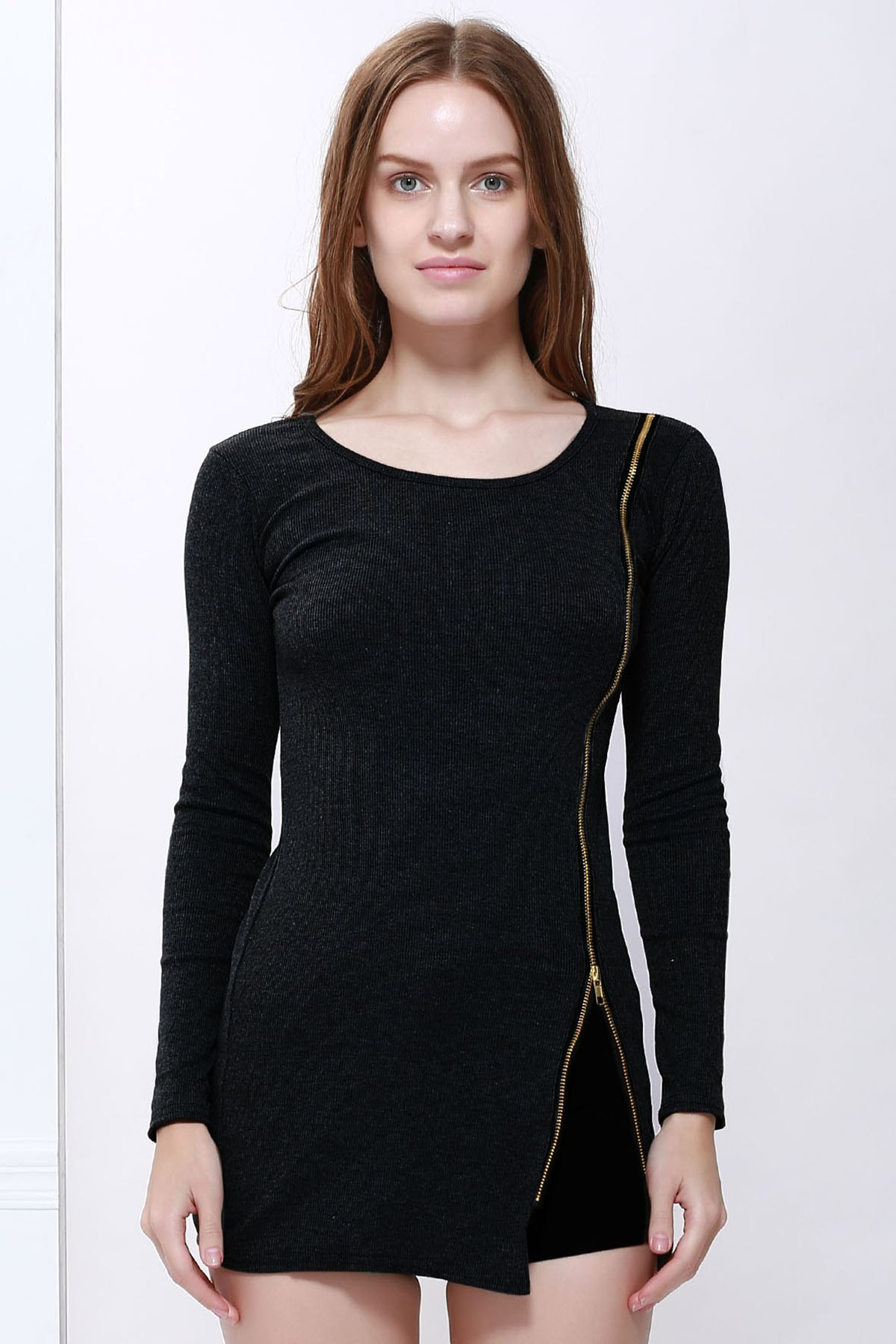 Slimming Zip Embellished Sexy Long Sleeves Dress For Women - BLACK ONE SIZE