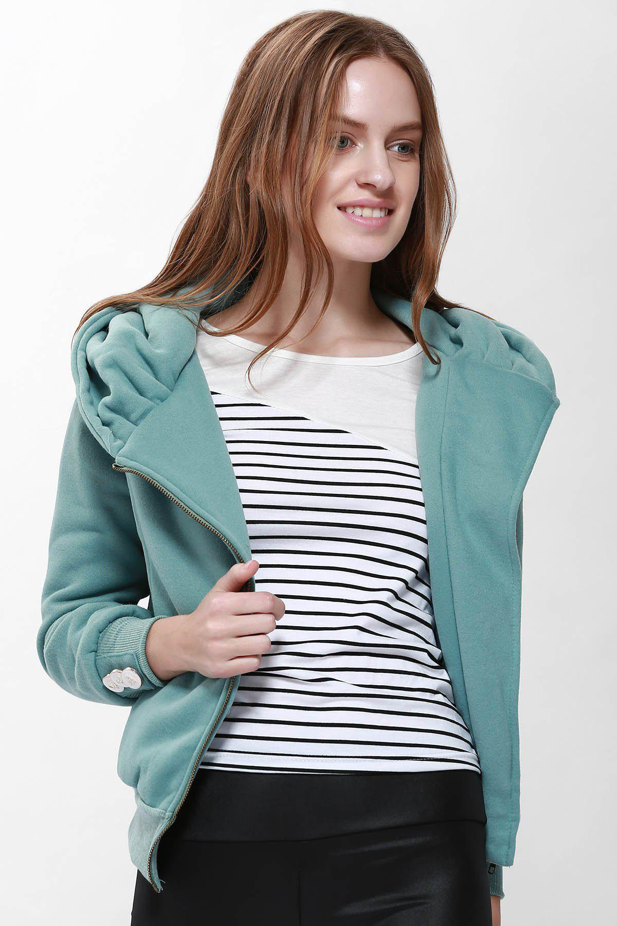 Fashionable Long Sleeve Solid Color Hoodie For Women - PEA GREEN L