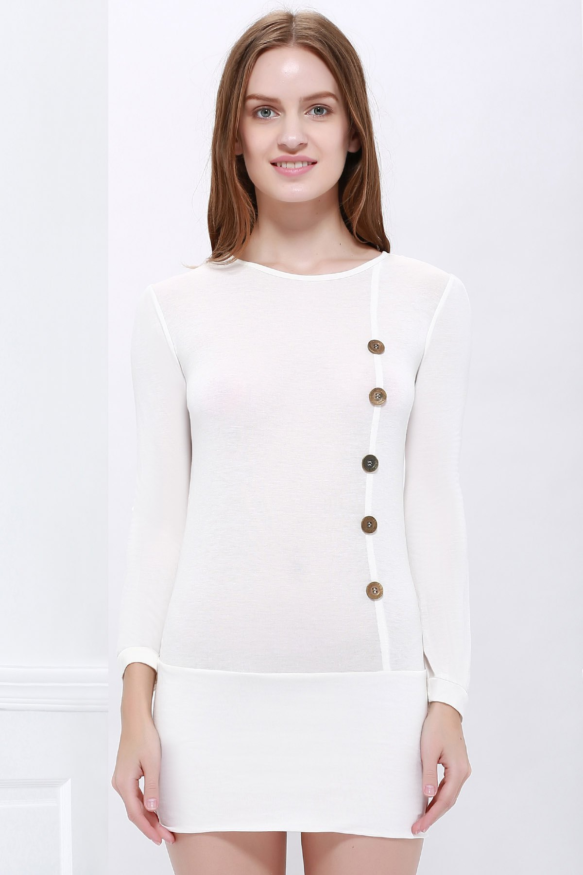Buttons Decoration Bodycon Long Sleeves Dress - WHITE L