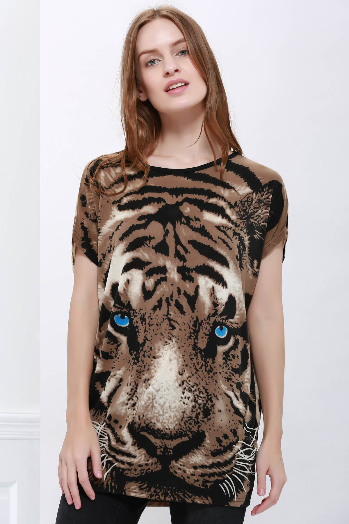 Stylish Style Tiger Print Women's T-Shirt - COLORMIX ONE SIZE