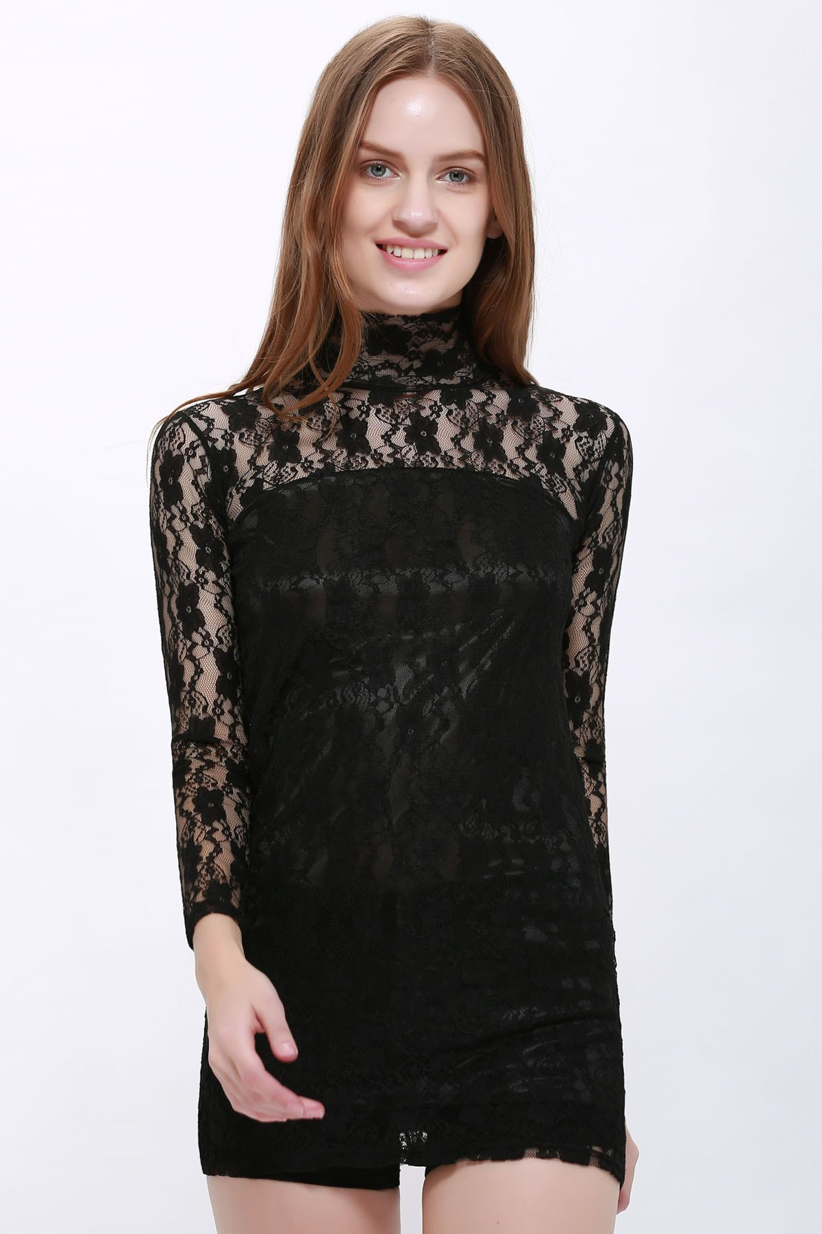 Slimming High Neck Ladylike Puff Sleeve Black Lace Women's Dress - BLACK ONE SIZE
