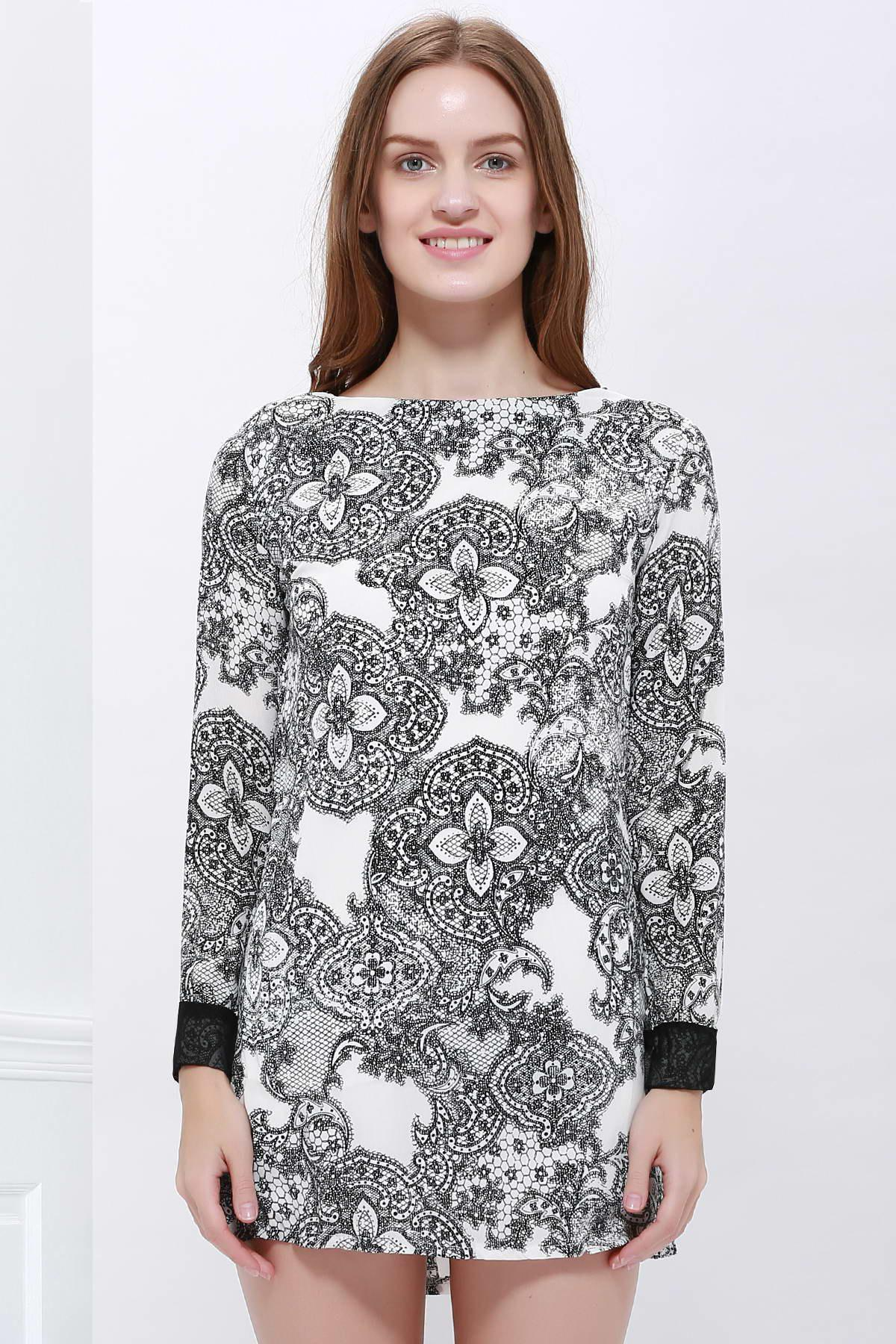 Elegant Printing Long Sleeved Women's Dress Trends For Spring 2013 - AS THE PICTURE M