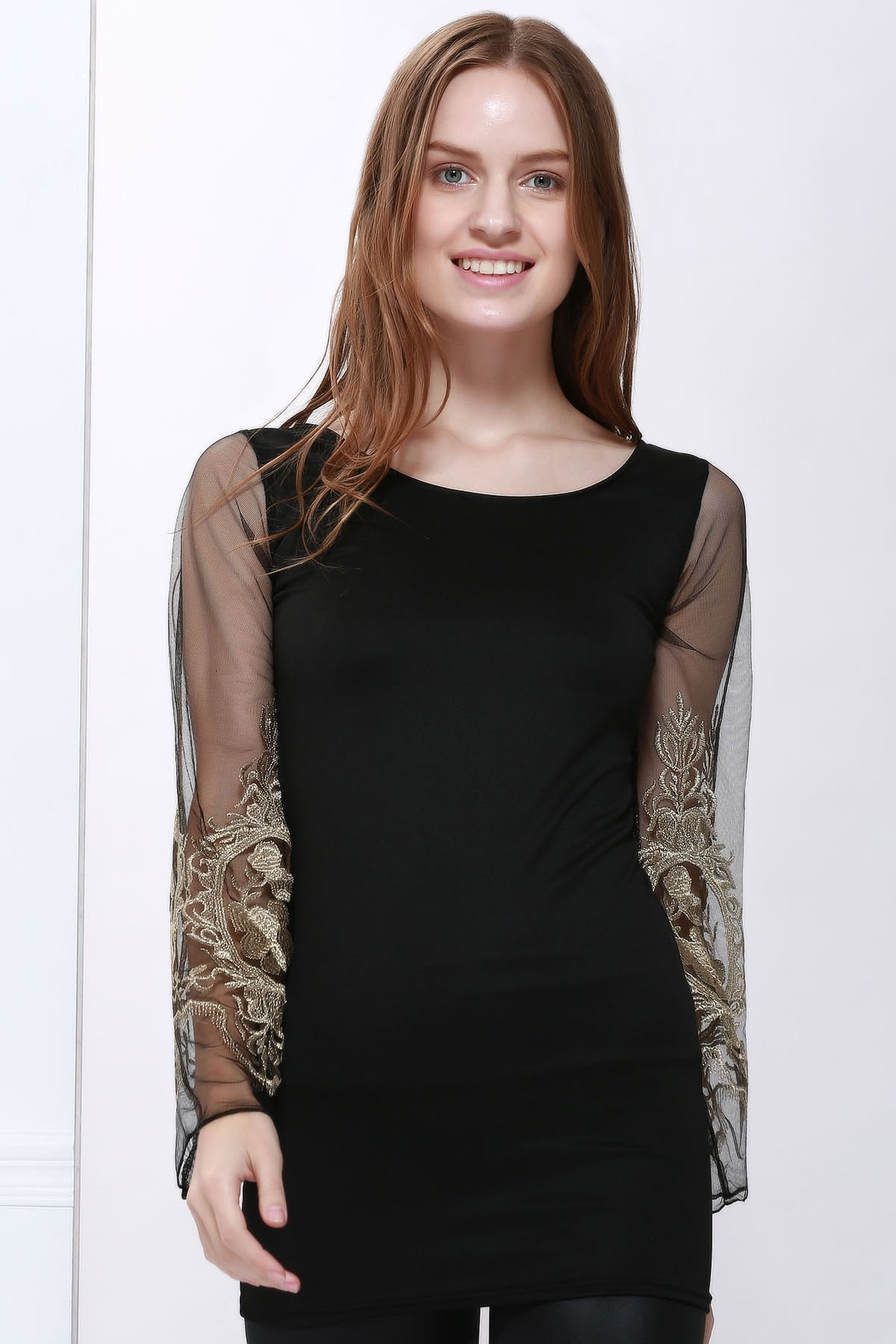 Sexy Style Ninth-Minute Sleeves Slimming Voile Splicing V-Neck Women's Dress last minute