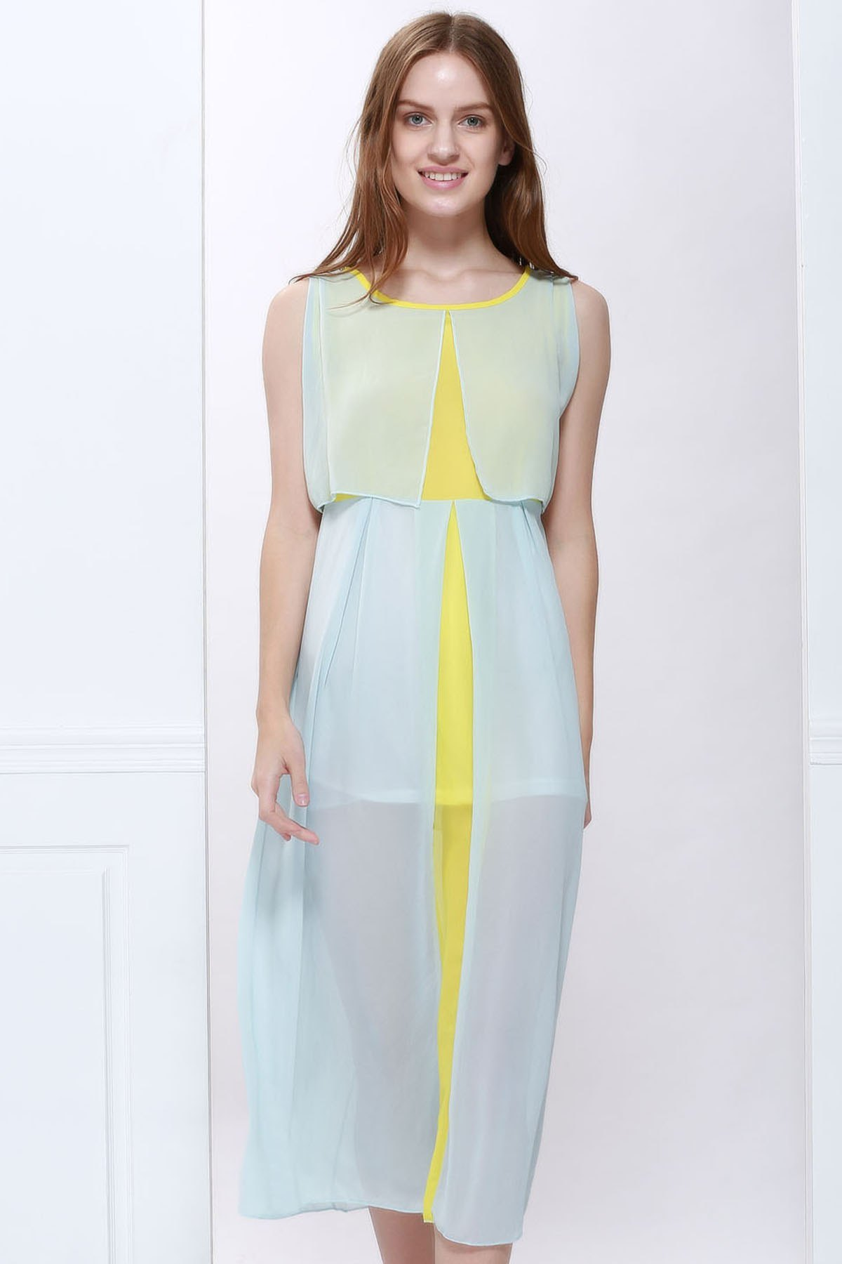 Women's Chiffon Color Block High Waistline Stitching Cape-style Casual Dress - AS THE PICTURE M