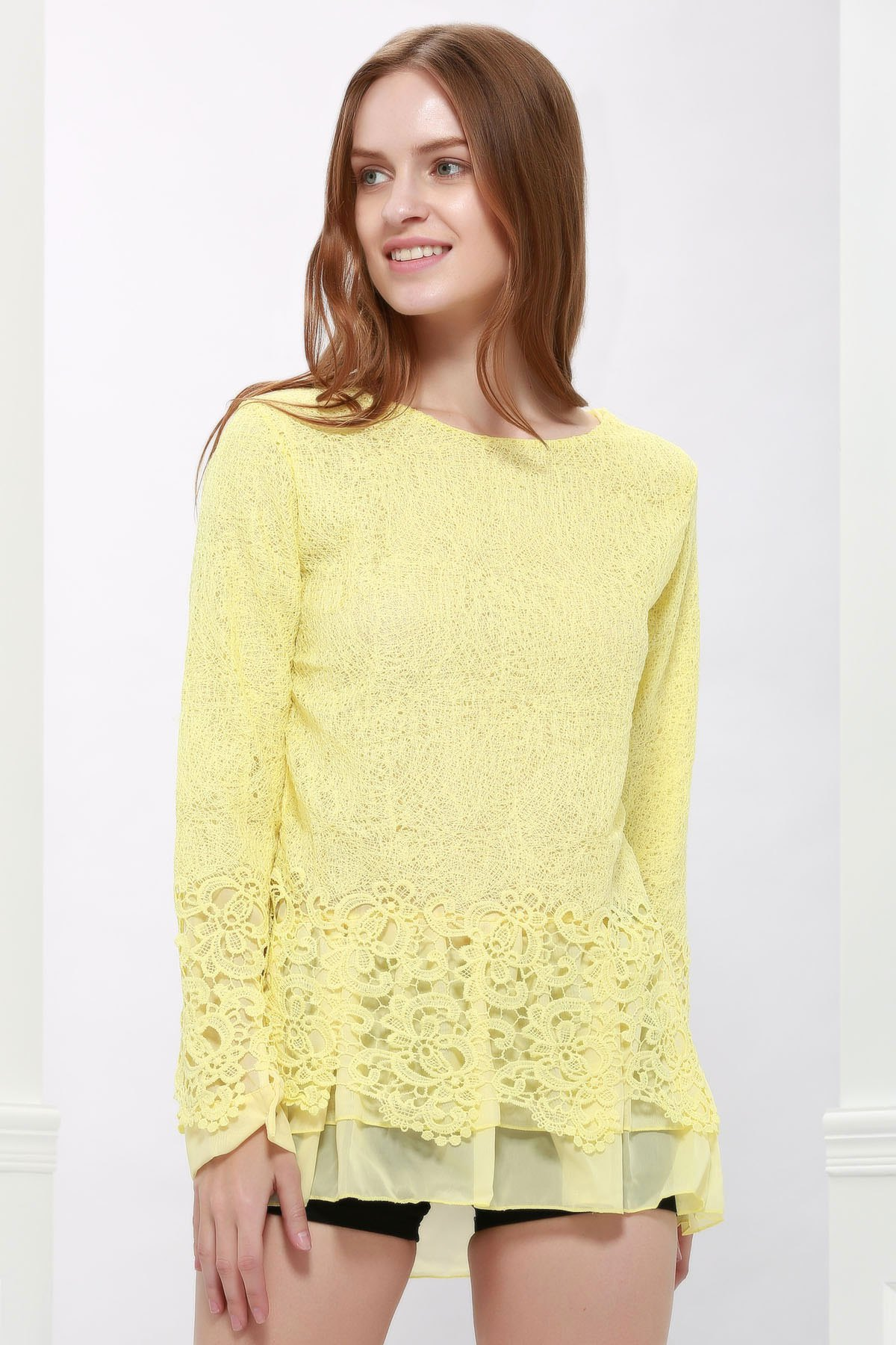 Long Sleeves Lace Panel Top - YELLOW M