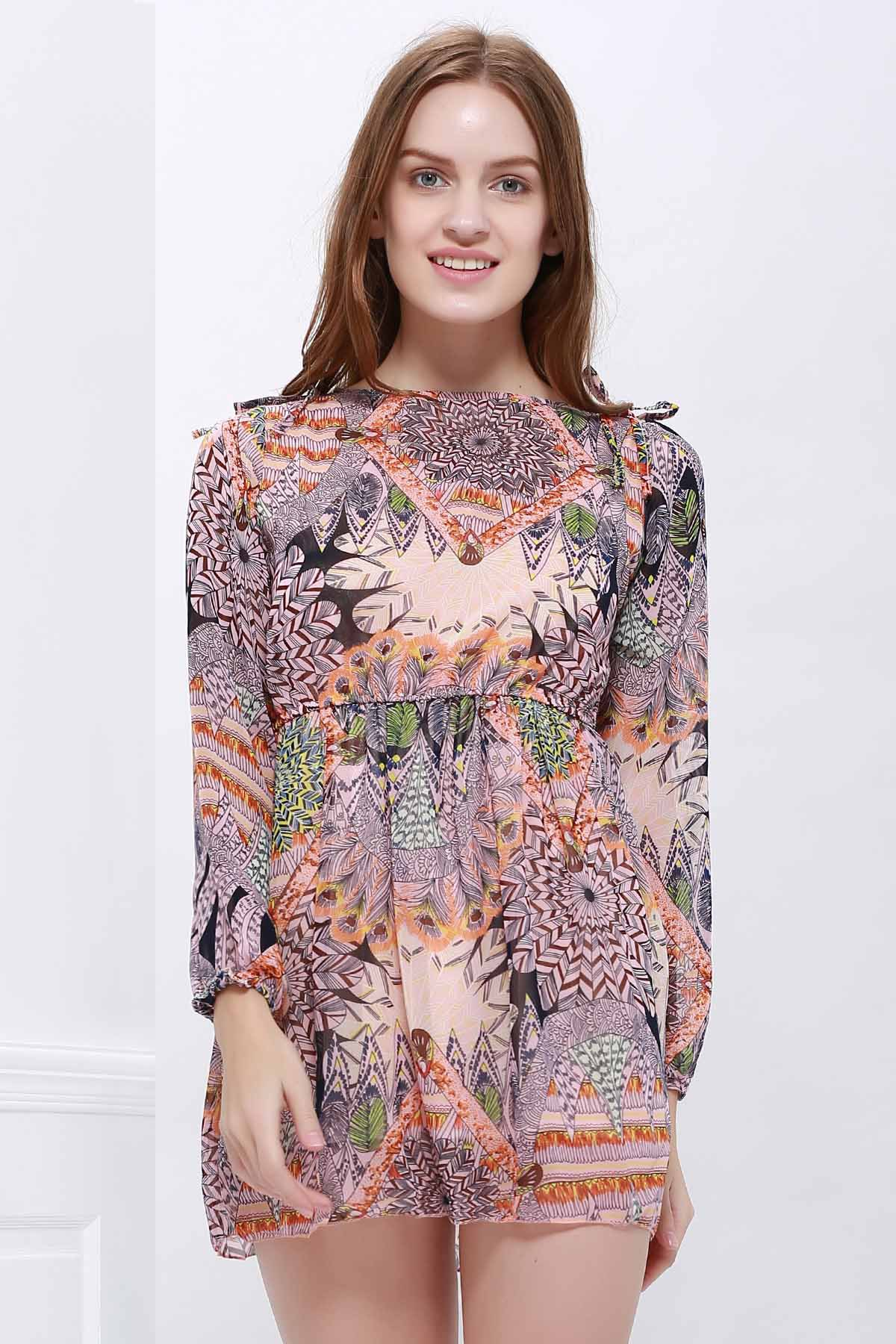 Ladylike Women's Chiffon Dress With Vintage Print Long Sleeve Design