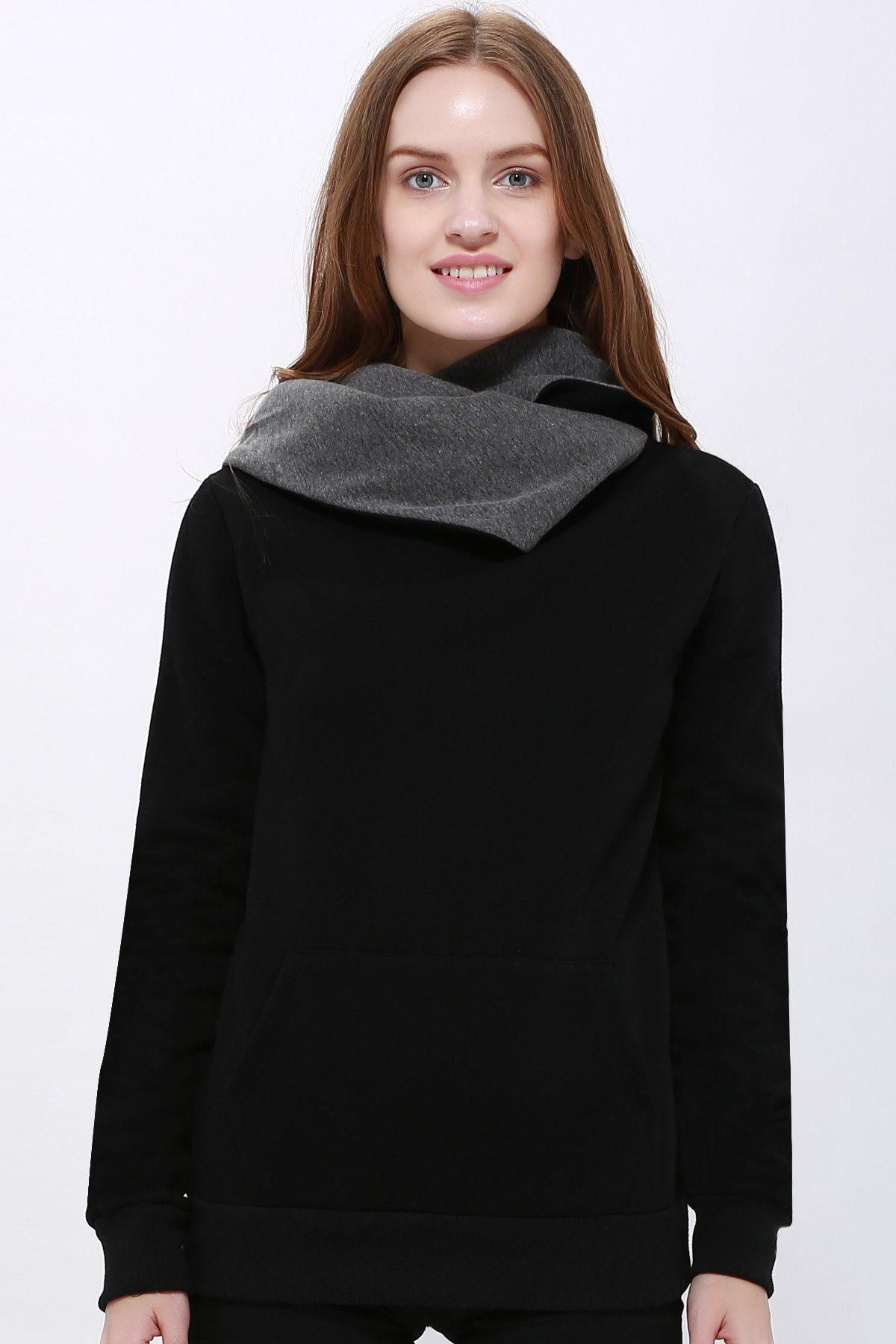 Casual Style Loose-Fitting Solid Color Long Sleeve Hoodie For Women casual style long raglan sleeve solid color women s hoodie