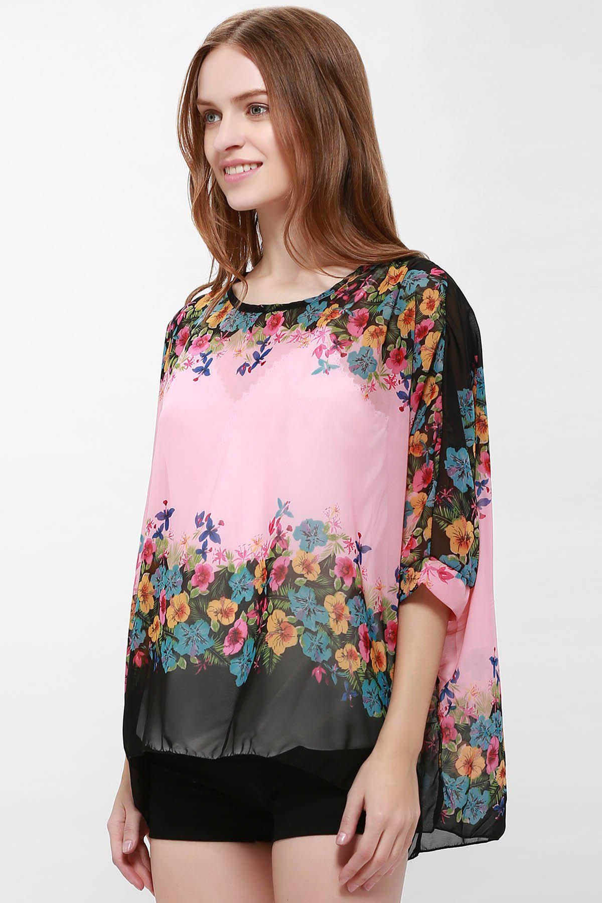 Loose-Fitting Bat-Wing Floral Print Bohemia Style Scoop Neck Women's Blouse - PINK L