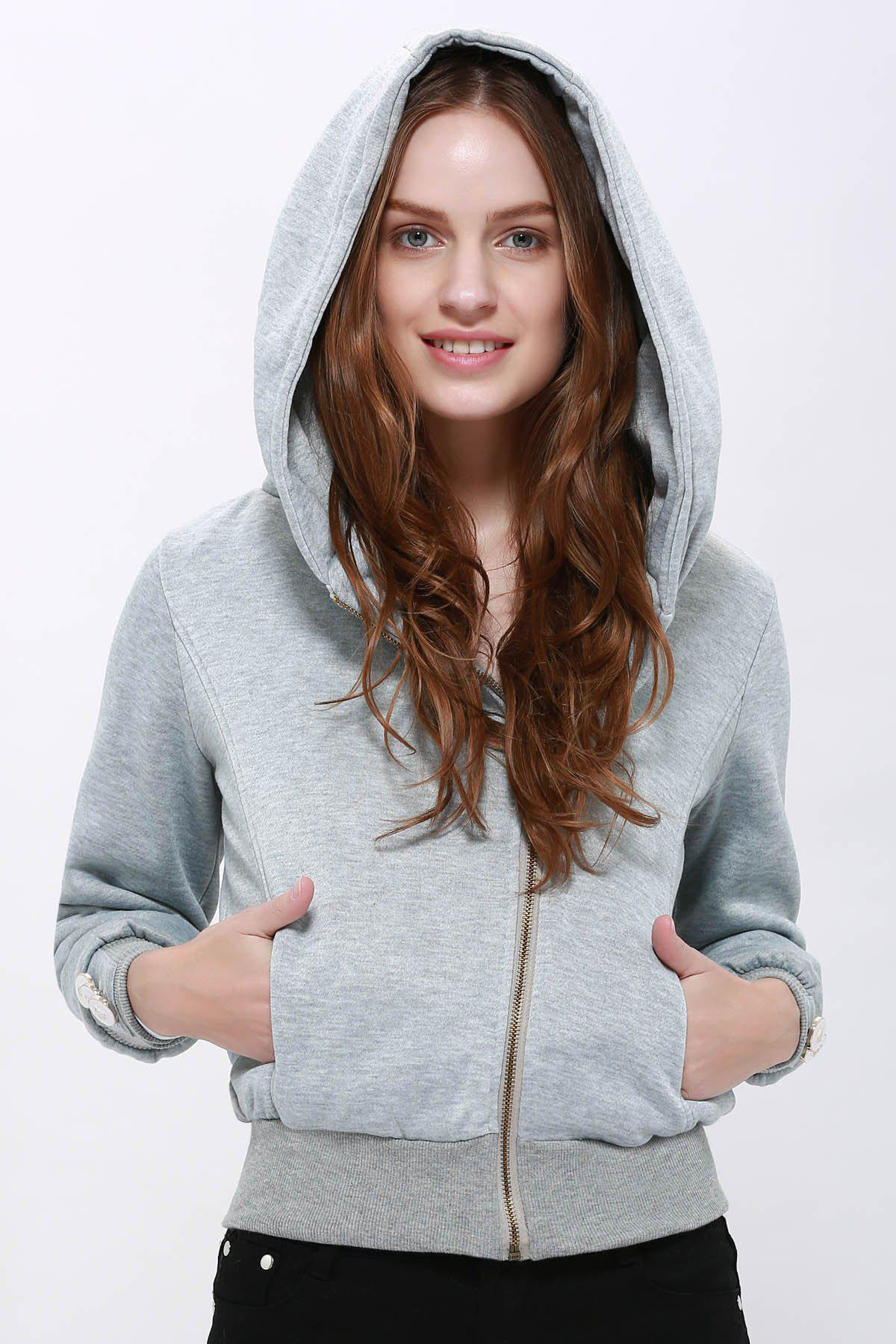 Fashionable Long Sleeve Solid Color Hoodie For Women - LIGHT GRAY S
