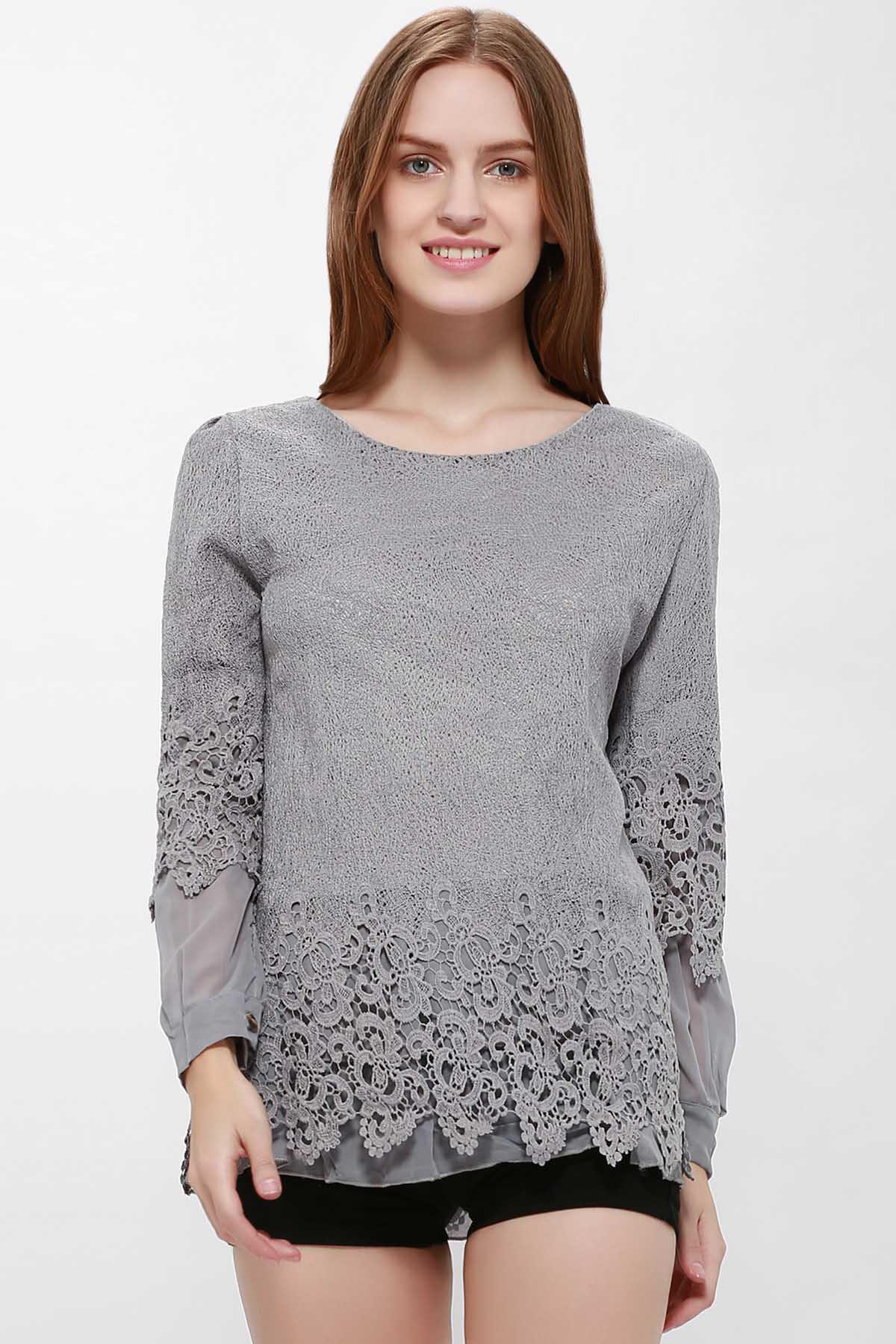 Long Sleeves Lace Panel Top - GRAY L