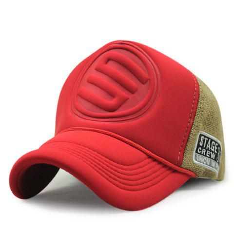 Stylish Round Badge Emboss and Splicing Design Men's Baseball Cap - RED