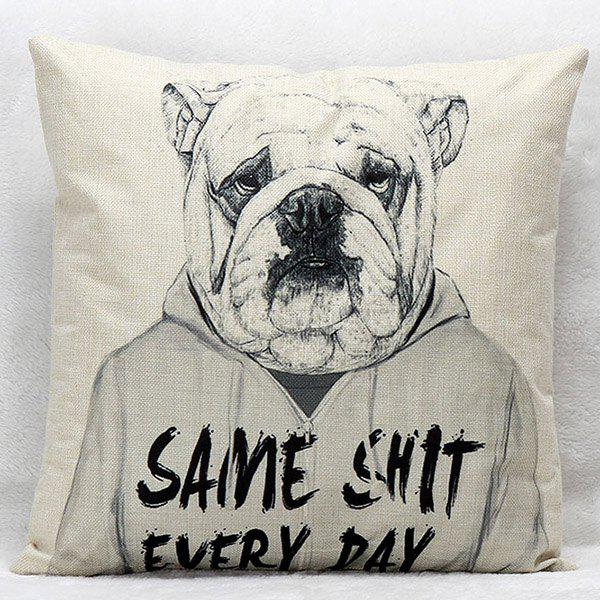 High Quality Cartoon Dog Pattern Square Shape Synthesis of Linen Pillow Case(Without Pillow Inner) - COLORMIX