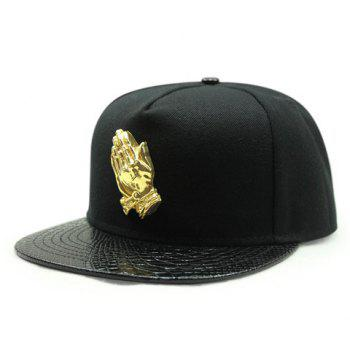 Stylish Praying Hands Shape Decorated PU Brim Men's Baseball Cap