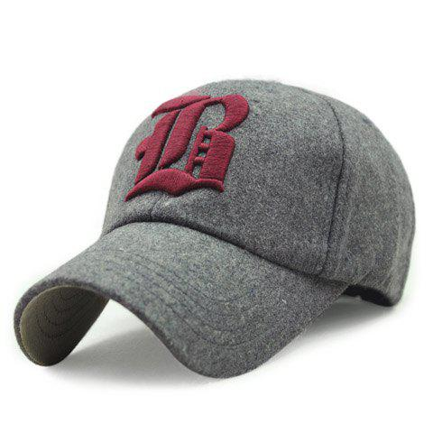 Stylish Gothic Letter Shape Embroidery Women's Winter Baseball Cap - WINE RED