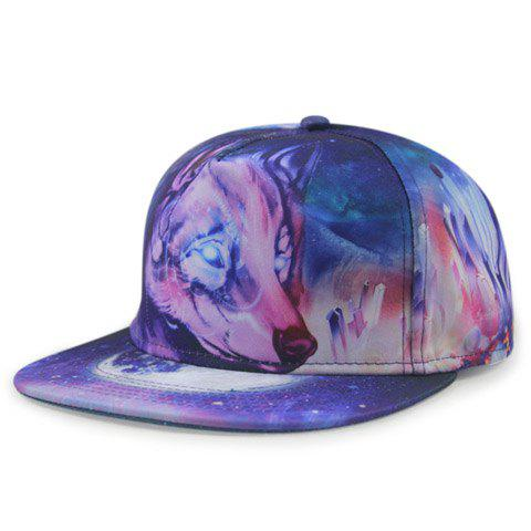 Stylish Wolf Head 3D Print Men's Baseball Cap - DEEP PURPLE