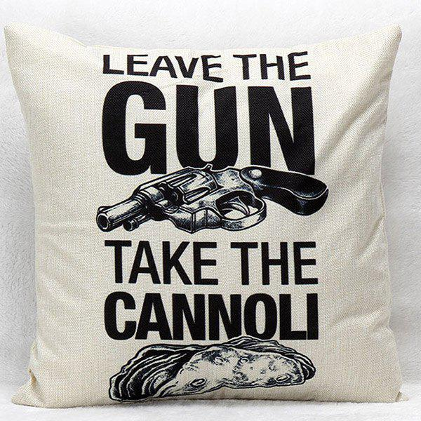High Quality Gun and Letter Pattern Square Shape Synthesis of Linen Pillow Case(Without Pillow Inner)