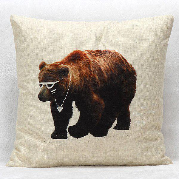 High Quality Bear Pattern Square Shape Synthesis of Linen Pillow Case(Without Pillow Inner)