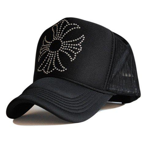 Stylish Cross Shape Rhinestones Embellished Women's Baseball Cap - BLACK