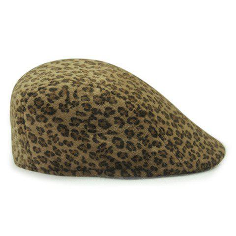 Chic Leopard Print Women's Winter Beret - KHAKI