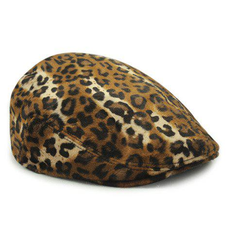 Chic Leopard Pattern Women's Winter Beret - COFFEE
