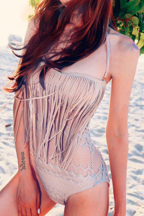 Attractive Halter Solid Color Cut Out Tassel Design One-Piece Swimwear For Women - APRICOT S