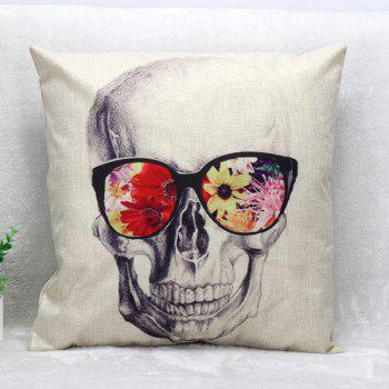 High Quality Glasses Skull Pattern Square Shape Synthesis of Linen Pillow Case(Without Pillow Inner)