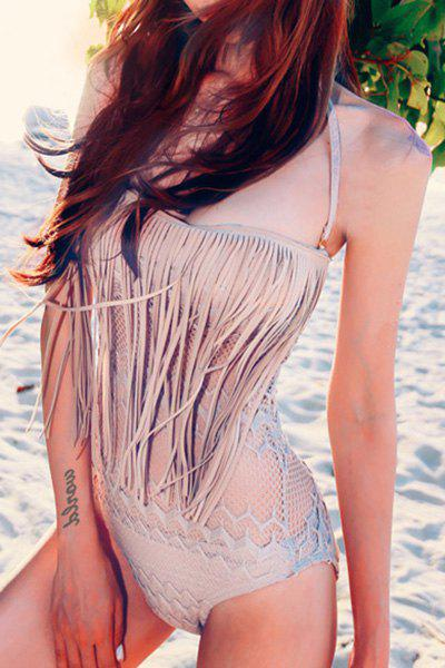 Attractive Halter Solid Color Cut Out Tassel Design One-Piece Swimwear For Women стоимость