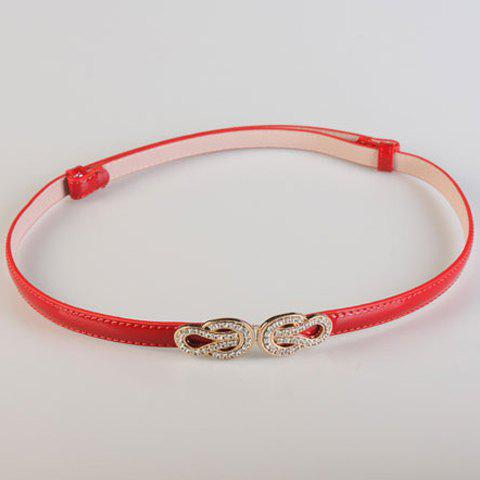 Chic Rhinestones Knotted Shape Alloy Patent Leather Women's Waistband - RED