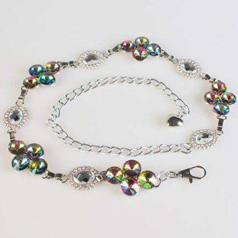 Chic Colorful Rhinestones Inlay Women's Alloy Waist Chain - COLORMIX
