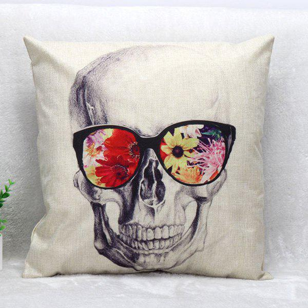 High Quality Glasses Skull Pattern Square Shape Synthesis of Linen Pillow Case(Without Pillow Inner) - COLORMIX