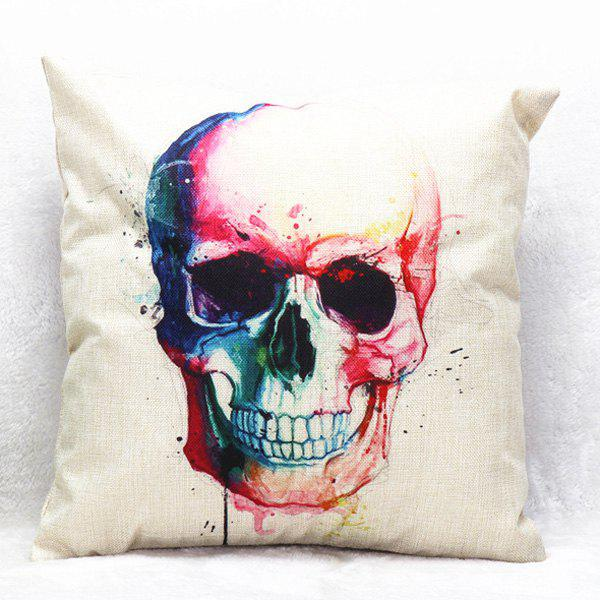 High Quality Colorful Skull Pattern Square Shape Synthesis of Linen Pillow Case(Without Pillow Inner)