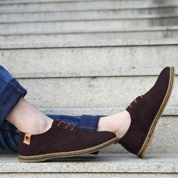 Simple Suede and Lace-Up Design Men's Casual Shoes - DEEP BROWN 40