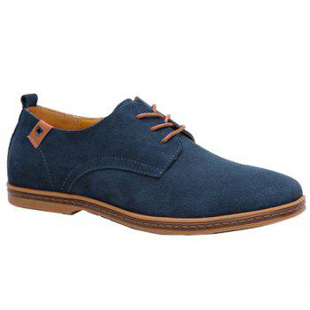 Simple Suede and Lace-Up Design Men's Casual Shoes - BLUE 42