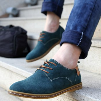 Simple Suede and Lace-Up Design Men's Casual Shoes - BLUE BLUE