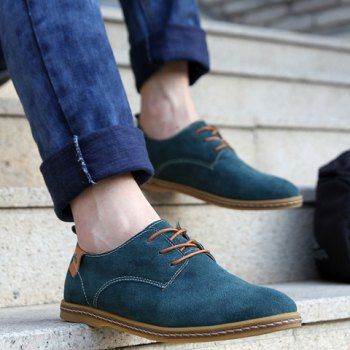 Simple Suede and Lace-Up Design Men's Casual Shoes - 42 42