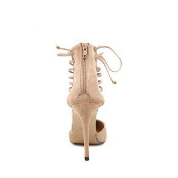 Sexy Cut Out and Lace-Up Design Pumps For Women - APRICOT 38