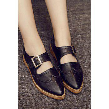 Preppy Cut Out and Engraving Design Flat Shoes For Women - BLACK 38