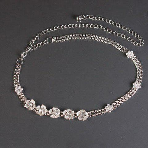 Chic Rivet Shape and Flower Embellished Women's Alloy Waist Chain