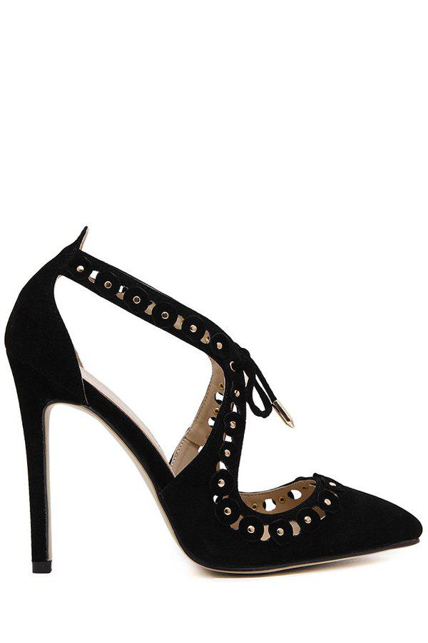 Sexy Hollow Out and Pointed Toe Design Pumps For Women - BLACK 37