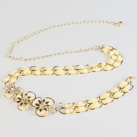Chic Rhinestone Flower Yellow Suede Rope Women's Alloy Waist Chain