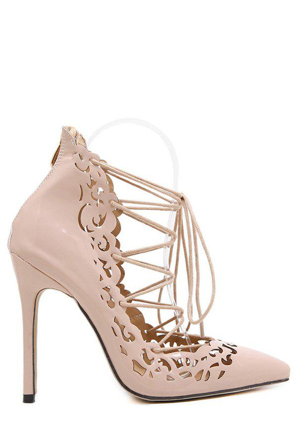 Sexy Cross-Strap and Openwork Design Pumps For Women - NUDE 38