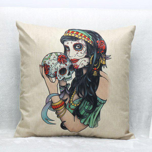 High Quality Beauty Skull Pattern Square Shape Synthesis of Linen Pillow Case(Without Pillow Inner) - COLORMIX